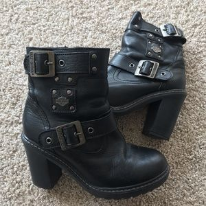 Harley Davidson Leather buckle Motor cycle boots